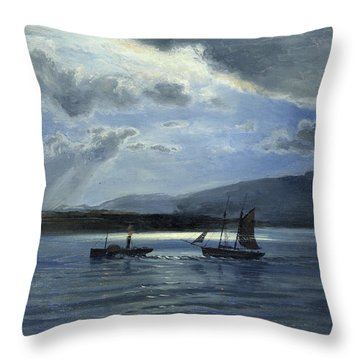 The Traeth Maur, Portmadee, Moonlight - Twilight Throw Pillow