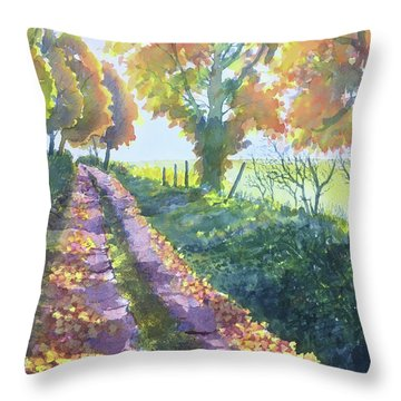 The Tunnel In Autumn Throw Pillow