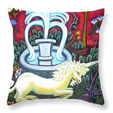The Unicorn And Garden Throw Pillow