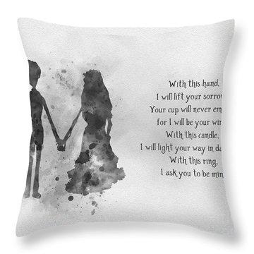 The Wedding Vows Black And White Throw Pillow