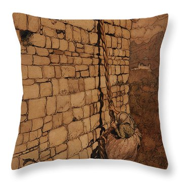 The Witch Climbed Up, Rapunzel, Grimm's Fairy Tales, 1909 Throw Pillow