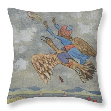 Throw Pillow featuring the drawing The Wizard And The Female Bird by Ivar Arosenius