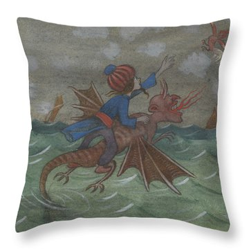 Throw Pillow featuring the drawing The Wizard And Women's Bird by Ivar Arosenius