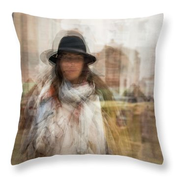 Throw Pillow featuring the photograph The Woman In The Black Hat by Alex Lapidus