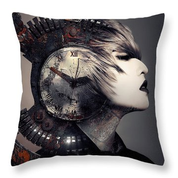 Throw Pillow featuring the digital art The Woman That Time Forgot by ISAW Company