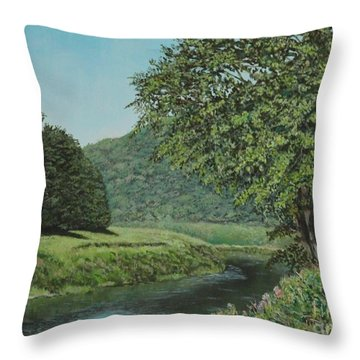 The Wye River Of Wales Throw Pillow