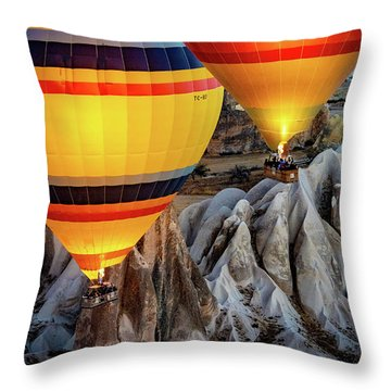 Throw Pillow featuring the photograph The Yellow Balloons by Francisco Gomez