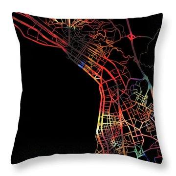 Thessaloniki Greece Watercolor City Street Map Dark Mode Throw Pillow