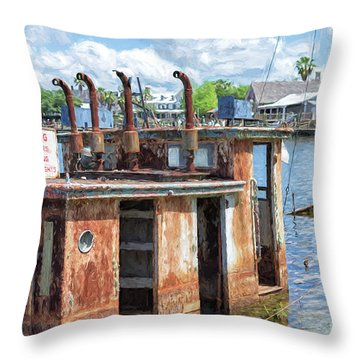 The Sunken Tugboat Fine Art Photography - Digital Painting By Mary Lou Chmura Throw Pillow
