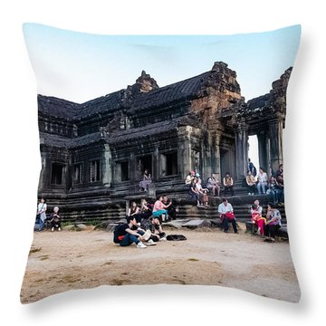 They Come To See Angkor Wat, Cambodia Throw Pillow