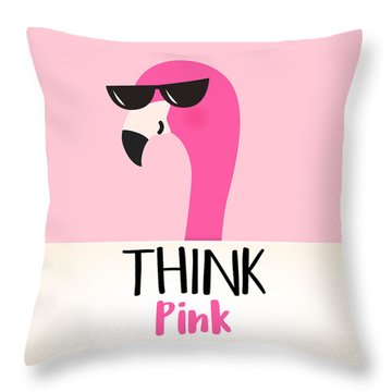 Think Pink - Baby Room Nursery Art Poster Print Throw Pillow