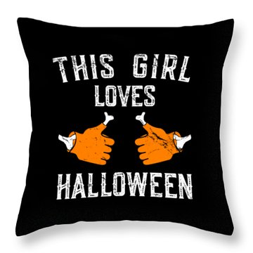 This Girl Loves Halloween Throw Pillow