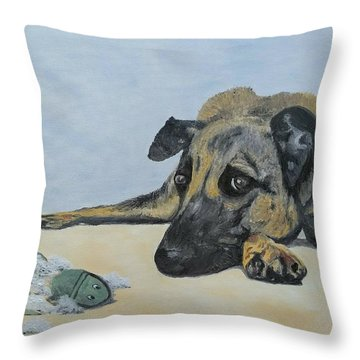 Throw Pillow featuring the painting This Toy Is Defective by Kevin Daly