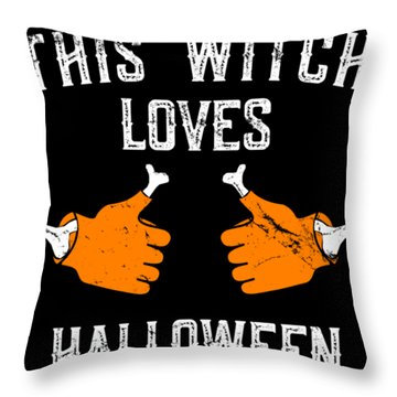 This Witch Loves Halloween Throw Pillow
