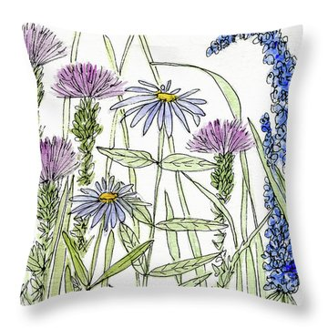 Thistle Asters Blue Flower Watercolor Wildflower Throw Pillow