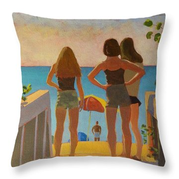 Throw Pillow featuring the painting Three Beach Girls by David Gilmore
