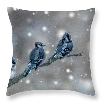Throw Pillow featuring the photograph Three Blue Jays In The Snow by Patti Deters
