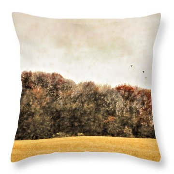 Three Crows And Golden Field Throw Pillow