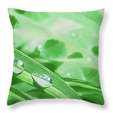 Three Dew Drops Realism In Watercolor Throw Pillow