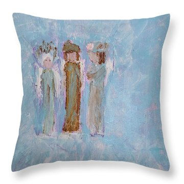 Three Friendly Angels Throw Pillow