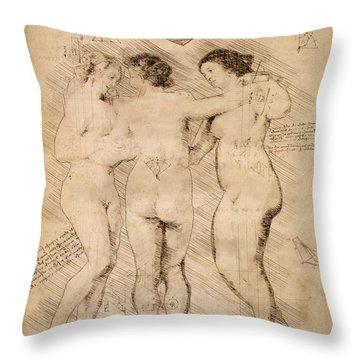 Three Graces Throw Pillow