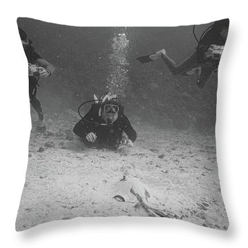 Three Guys And A Ray Throw Pillow
