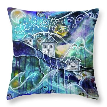 Three Houses On A Cliff Throw Pillow