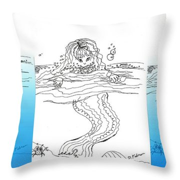 Three Mermaids All In A Row Throw Pillow