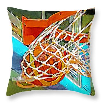 Throw Pillow featuring the photograph Three Point Shot From Downtown Nothing But Net Basketball 20190106 by Wingsdomain Art and Photography