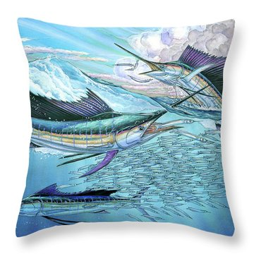 Three Sailfish And Bait Ball Throw Pillow