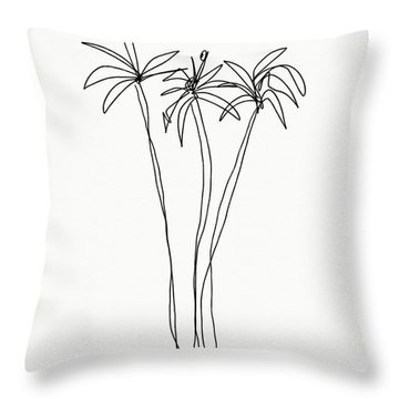 Three Tall Palm Trees- Art By Linda Woods Throw Pillow