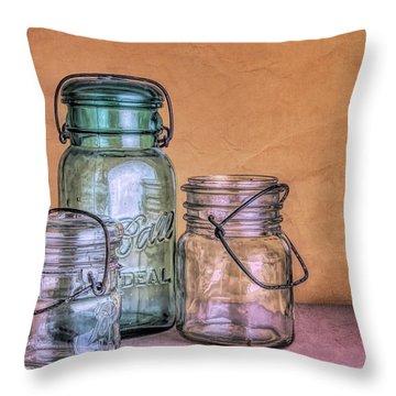 Three Vintage Ball Jars Throw Pillow