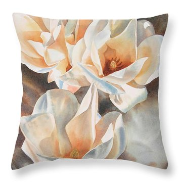 Three White Magnolias Throw Pillow
