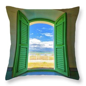 Through The Lighthouse Window Throw Pillow