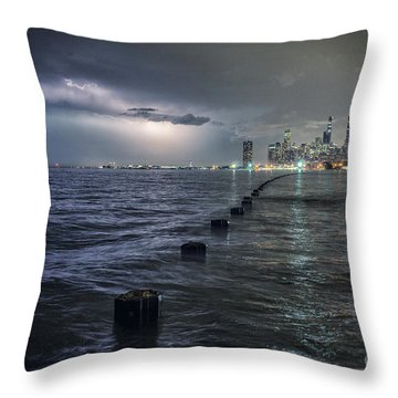 Thunder And Lightning In The Dark City Throw Pillow