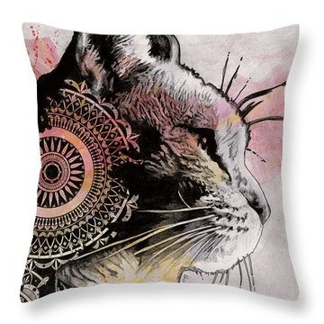 Tides Of Tomorrow - Mandala Tabby Cat Drawing, Animal Portrait Throw Pillow