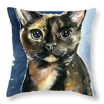 Tiffany Tortoiseshell Cat Painting Throw Pillow