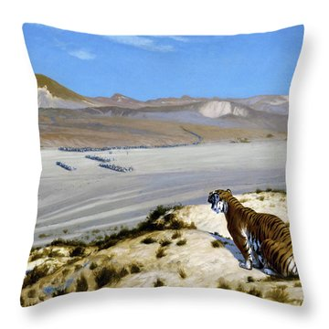 Tiger On The Watch - Digital Remastered Edition Throw Pillow