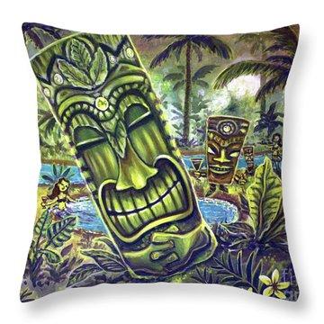 Tiki Genie's Sacred Pools Throw Pillow