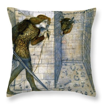 Tile Design - Theseus And The Minotaur In The Labyrinth Throw Pillow