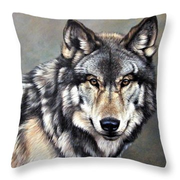 Timber Wolf By Alan M Hunt Throw Pillow