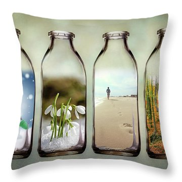 Time In A Bottle - The Four Seasons Throw Pillow