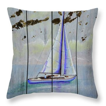 Throw Pillow featuring the painting Time To Sail by Mary Scott