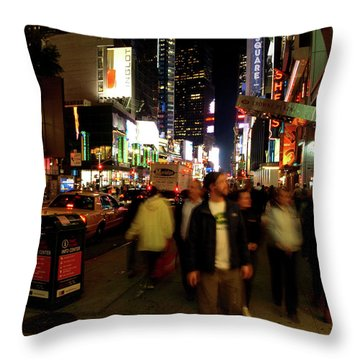 Throw Pillow featuring the photograph Time Square, Two by Edward Lee