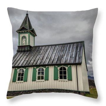 Tiny Church Of Iceland Throw Pillow