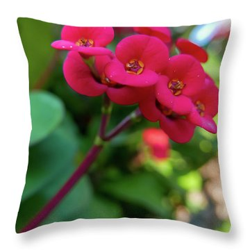 Tiny Red Flowers Throw Pillow