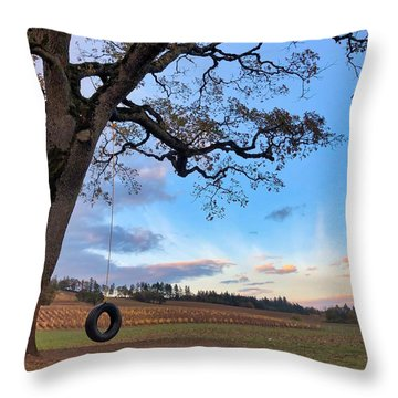 Tire Swing Tree Throw Pillow