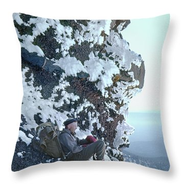 Throw Pillow featuring the photograph Tm5301 Ed Parker On Three Fingered Jack 1957 Or by Ed Cooper Photography