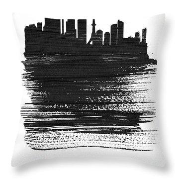 Tokyo Skyline Brush Stroke Black Throw Pillow