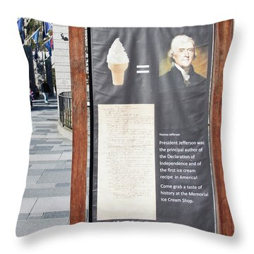 Throw Pillow featuring the photograph Tomas Jefferson's Ice Cream Recipe At Rushmore Monument by Tatiana Travelways